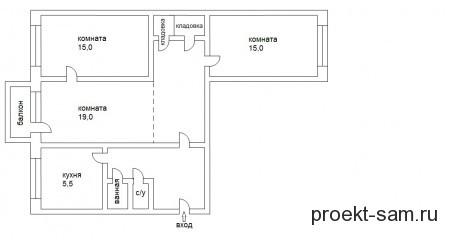 планировка 3-х комнатной в хрущевке
