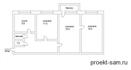 планировка трехкомнатной квартиры в панельных хрущевках улучшенный вариант