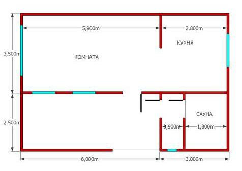 планировка бани с летней кухней 6х9