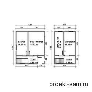 планировка дачного домика 6x6