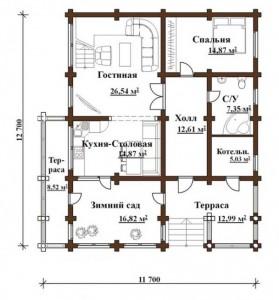 планировка деревянного одноэтажного дома с зимним садом