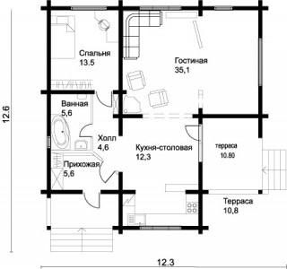 планировка деревянного дома 12х12