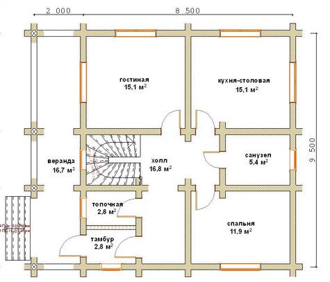 планировка деревянного дома из бревна