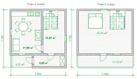 планировка деревянного дома с мансардой