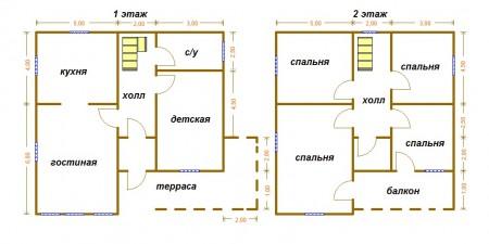 планировка дома 10x10