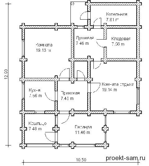 планировка одноэтажного деревянного дома 10x12