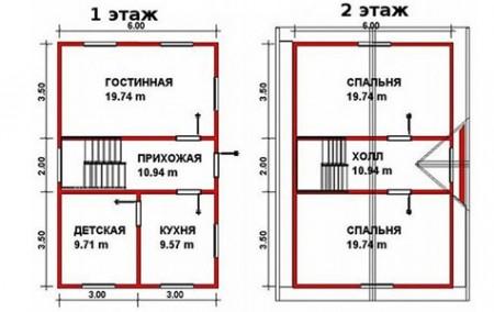 планировка двухэтажного дома 6x9