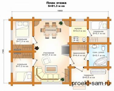 планировка дома 80 кв м