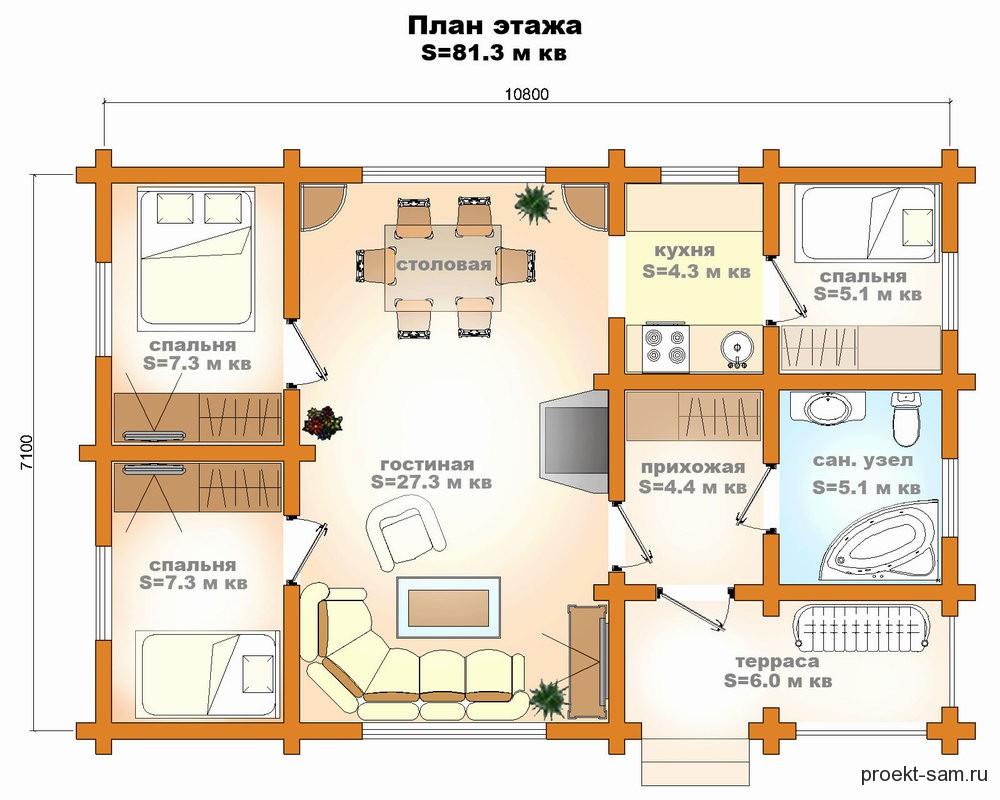 Схема дома из кирпича