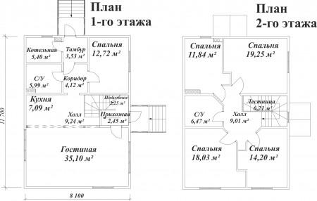 планировка дома 12x8 для большой семьи