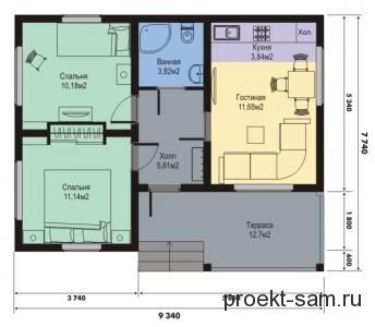 планировка дома 9x8