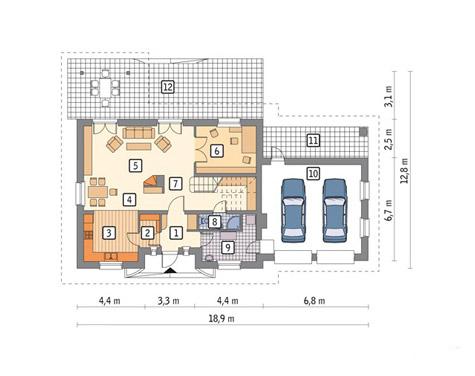 планировка дома с пристроенным гаражом на 2 автомобиля