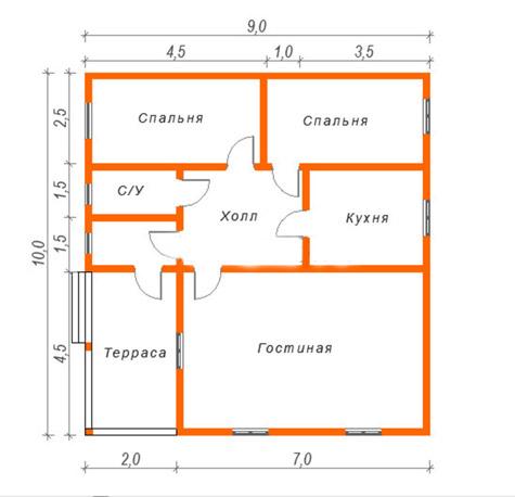 планировка дома из бруса 9х10