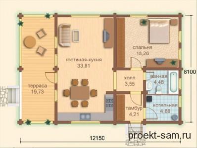 планировка одноэтажного дома из бруса 8x12