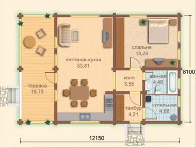 планировка дома из бруса 8x12