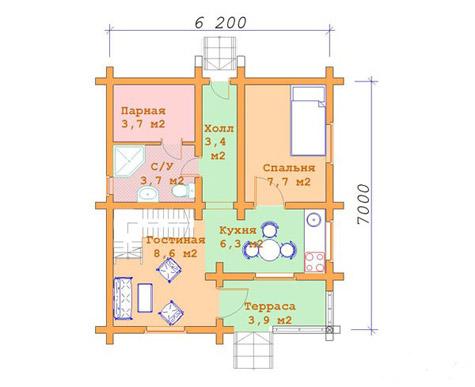 планировка одноэтажного деревянного дома из бруса 6х7
