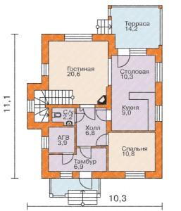 планировка дома из сибита