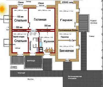 планировка дома из соломенных блоков