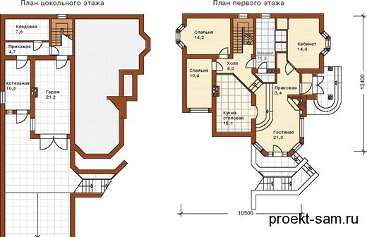 планировка дома на склоне