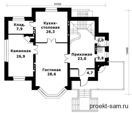 план двухэтажного дома с бассейном 1 этаж