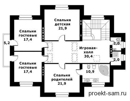 схема расположения спален на 2-м этаже в коттедже с бассейном
