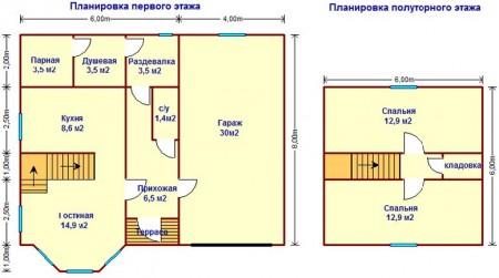 планировка дома с гаражом и сауной