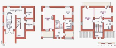 планировка дома с гаражом в цокольном этаже