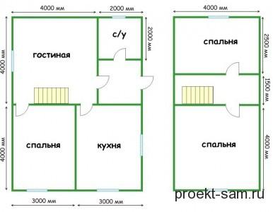 планировка дома с мансардой 10x10