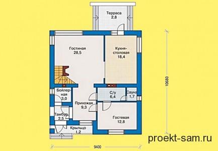 проект дома с мансардой 124 кв м