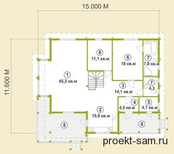 планировка двухэтажного дома с мансардой более 150 кв м