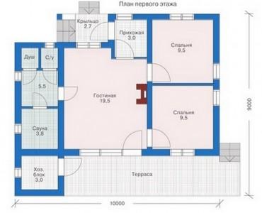 планировка одноэтажного дома с сауной