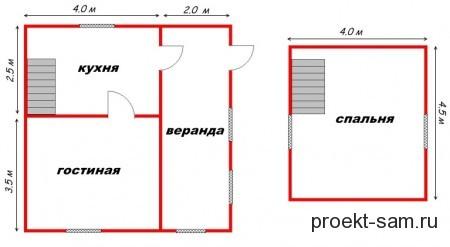 планировка дома с верандой 6x6