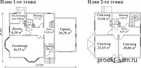 план двухэтажного дома с мансардой и гаражом