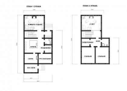 планировка двухэтажного гостевого дома с баней
