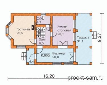 планировка кирпичного дома с террасой