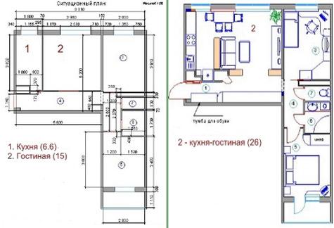 планировка кухни-столовой и гостиной