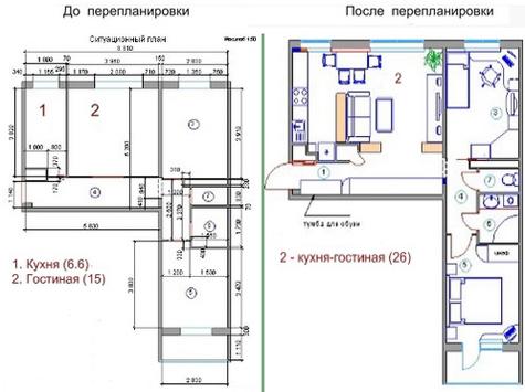 планировка кухни, совмещенной с гостиной