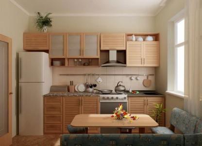 планировка кухни в одну линию 8 кв. м.