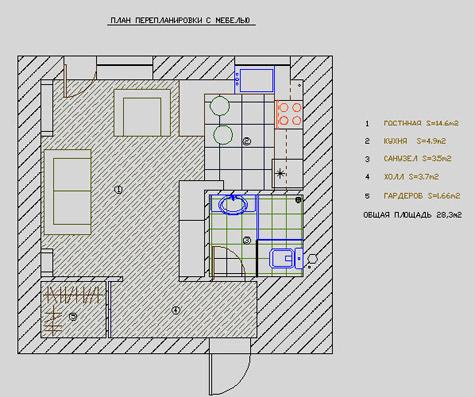 планировка небольшой квартиры студии