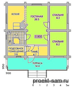 планировка одноэтажного дома 9x9