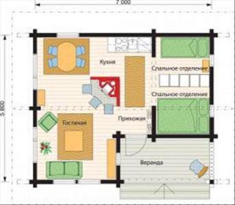 планировка одноэтажного дома из бруса 6x7