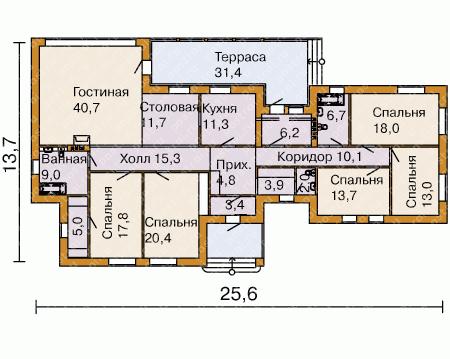 планировка одноэтажного дома из кирпича для большой семьи