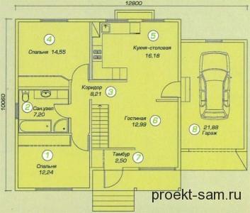 план одноэтажного дома с гаражом 110 кв м