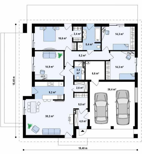 планировка одноэтажного дома с гаражом на две машины