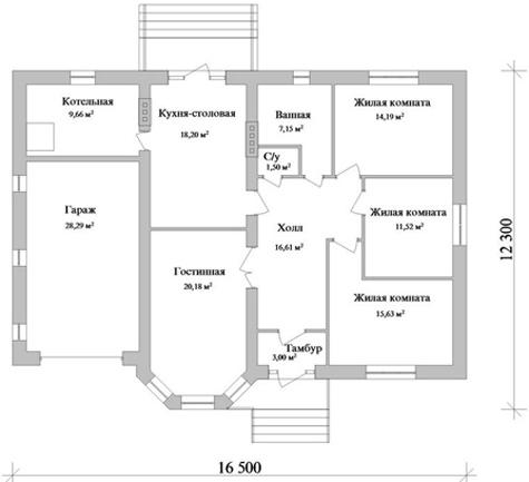 планировка одноэтажного дома с