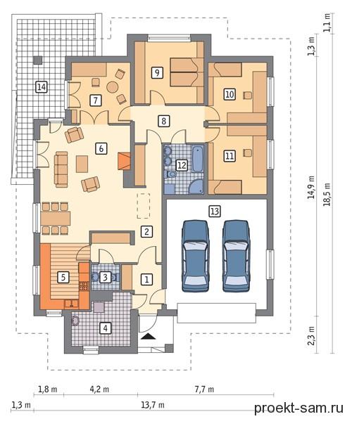 планировка одноэтажного дома с камином и гаражом