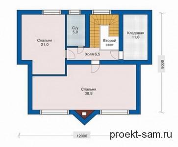 план одноэтажного дома с мансардой 9x12