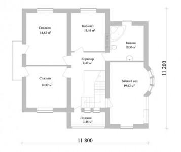планировка одноэтажного дома с зимним садом
