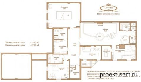 планировка особняка цокольный этаж