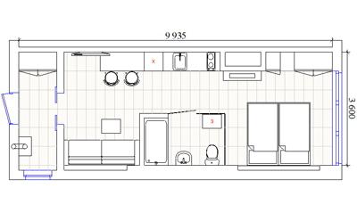 планировка прямоугольной квартиры студии